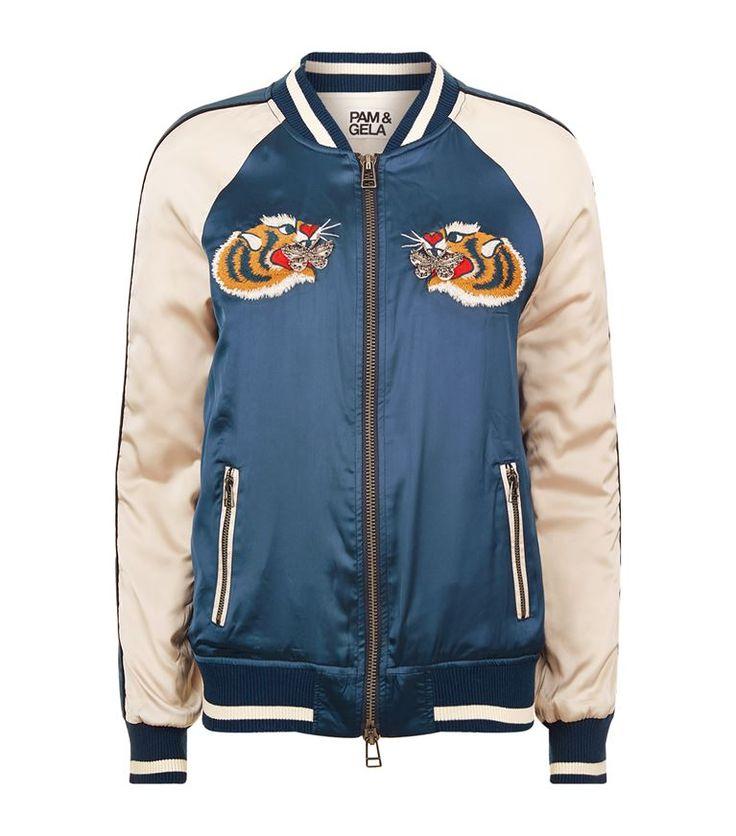 Women: Bomber Jackets Pam & Gela Embroidered Tiger Bomber Jacket