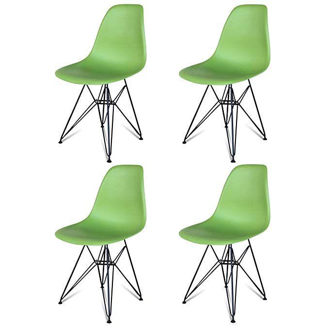 Urban Furnishing Set Of Four 4 Green Iconic Side Chair Black Wire Legsdsw Dsr Eiffel Legs Dining Room Chair Metal Side Chairs Dining Side Chairs Chair