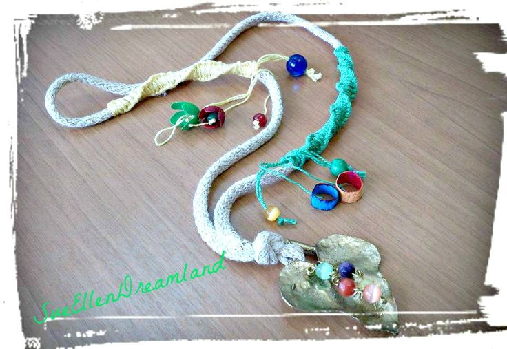 "Handmade necklace with brass foundry ivy leaf, colorful semiprecious beads and ""flowers""  from silkworm cocoons and macrame decoration! by SueEllenDreamland on Etsy"