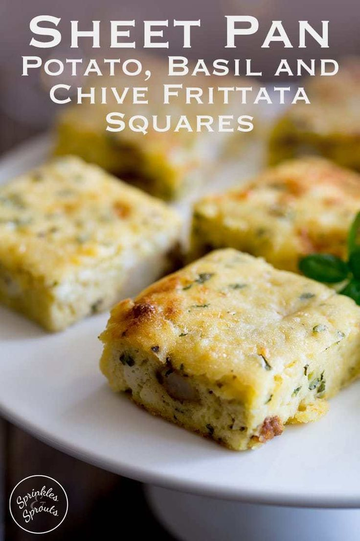This Frittata is so easy, it is OVEN BAKED!!!!! Tender potato, melty cheese, fresh sweet chive and herbaceous basil all sit so perfectly with egg. So you just know these Potato, Basil and Chive Frittata Squares are going to be a hit!!!!