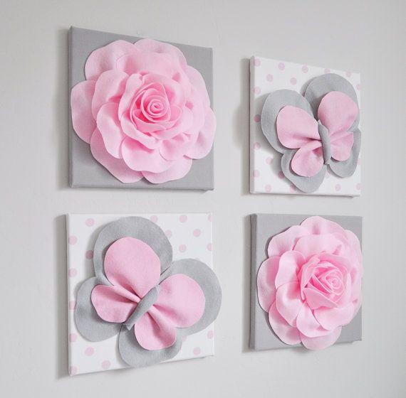 Rosa y gris mariposa decoración infantil pared cubren de