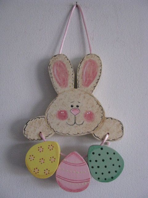 Bunny with Eggs Handpainted Easter Decor by loisling on Etsy
