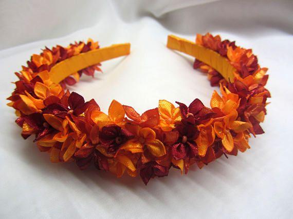 Orange girls headband Autumn girls headband Fall headband