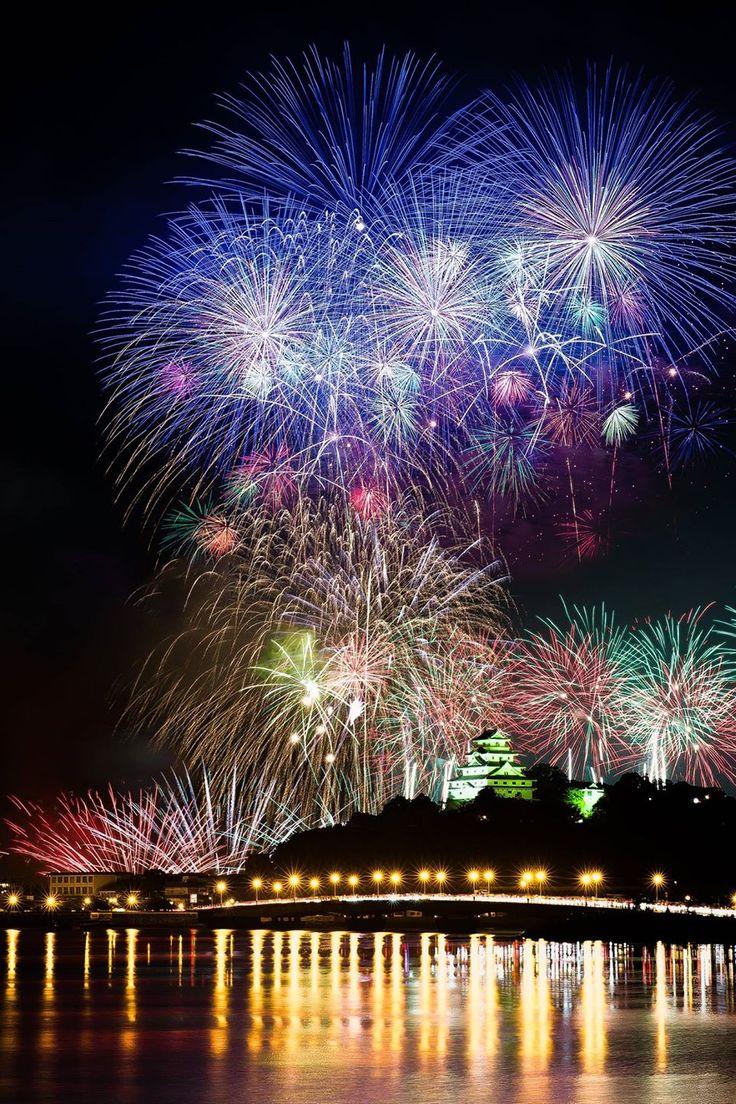 Fireworks over Karatsu Castle, Saga, Japan, Photo by Takaharu Mukai