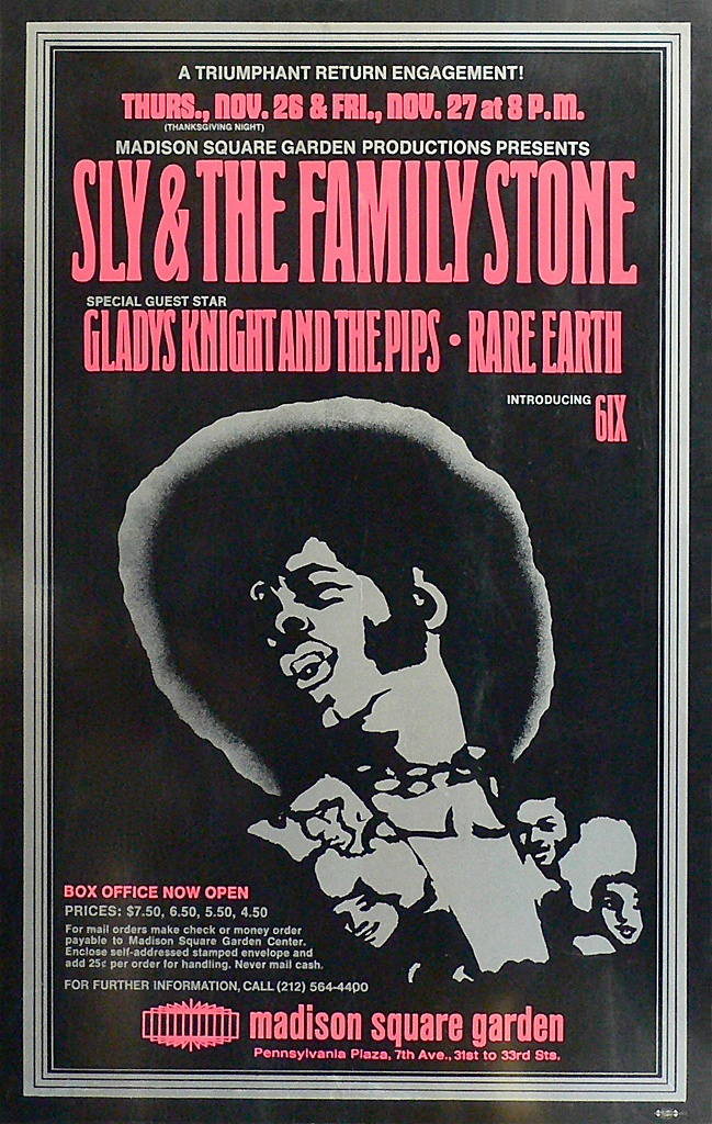 Sly & The Family Stone, Gladys Knight & The Pips, Rare Earth, Madison Square Garden, New York (Thursday & Friday, November 26 & 27, 1970)