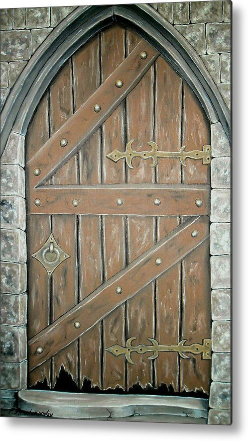 Metal Print, Painting,  old door, wooden,medieval,old,building,entrance,broken,deserted,brown,image,fine,art,oil,painting,wall,art,beautiful,awesome,cool,artistic,artwork,for,sale,home,office,decor,decoration,decorative,items,ideas,fine art america, Oblivion