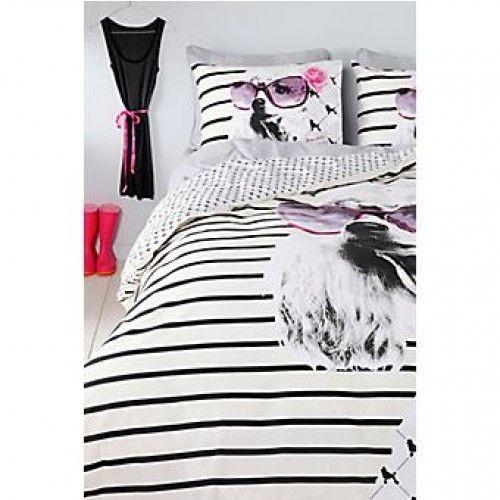 Grappige slaapkamer met zwart  wit trends, Dekbedovertrek Covers  u0026 Co poedel   Slaapkamer