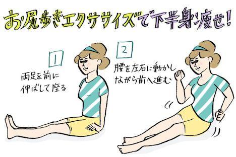 下半身痩せに効果的な「お尻歩きエクササイズ」。たるんだお尻がキュッと引き締まったり、便秘が解消したり、骨盤が矯正されて下半身全体がスリムになったり、いいことづくめのお尻歩きにチャレンジ!
