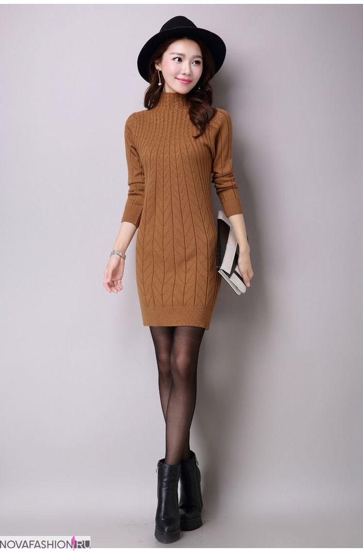 Вязаные платья осень зима 2017-2018: вязаное платье,приталенное с узором,коричневое