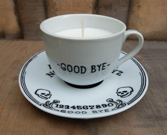 "snootyfoxfashion: ""Ouija Board Tea Cup Candle from LadyGloom """
