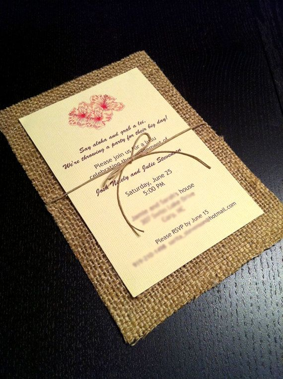 Hawaiian Vintage inspired Burlap Invitations by tinkermel3 on Etsy, $2.85