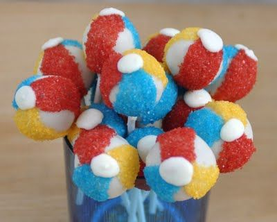 Beach Ball Cake Pops ~ cute for a beach or pool party
