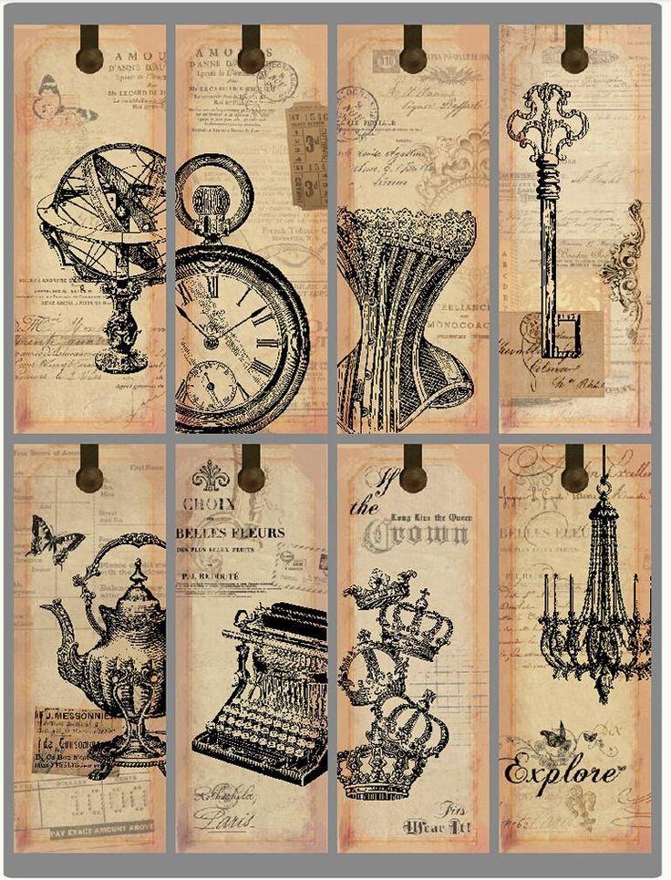 4 компл. европейском стиле классический черный печатных бумажные закладки, Старинные образцы для скрапбукинга, Закладка и теги купить на AliExpress