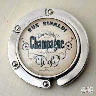 shabbyflair - Dekorativer Handtaschenhalter mit Vintage-Motiv CHAMPAGNE