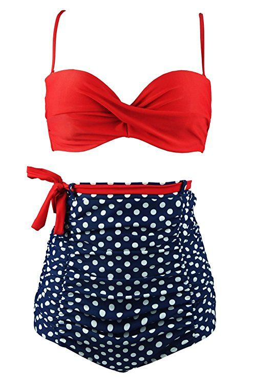 ca5b4c89f4 COCOSHIP Red   Blue White Polka Dot High Waisted Bikini Tie Belt Vintage  Bathing Suit Ruched Swimsuit L(FBA)