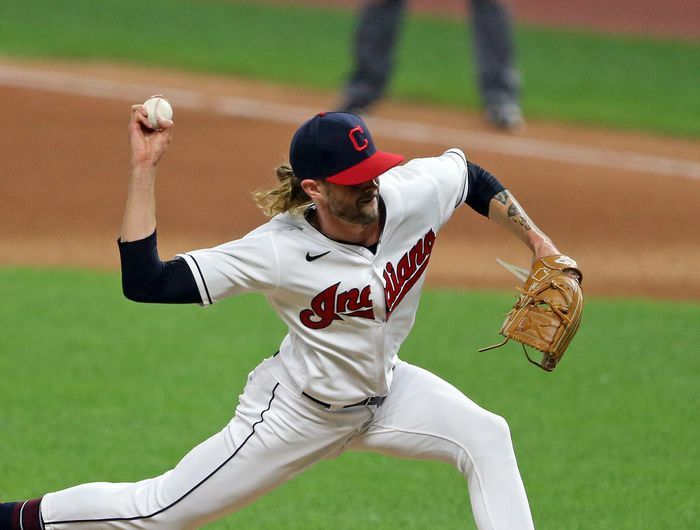 Cleveland Indians Relief Pitcher Adam Cimber Pitches In The Seventh Inning Of Game Two Of A Double Header At Progressive Fi Cleveland Indians Indians Cleveland