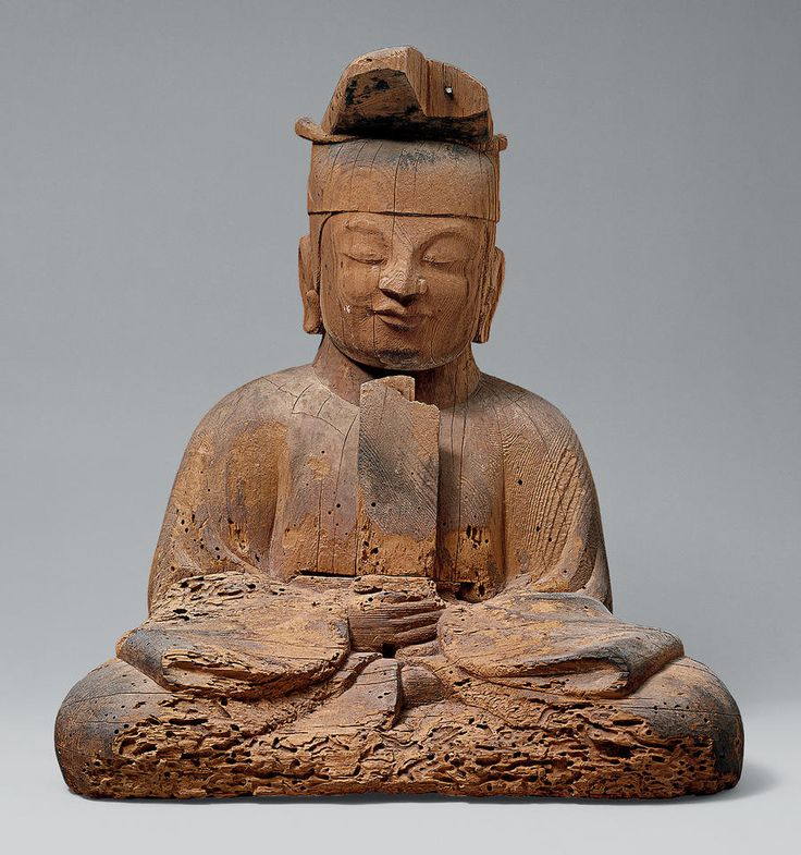 10th-12th C. Shinto Spirit deity in human form combines sacred and secular authority, for Japanese ancestor worship at Court. Cypress.
