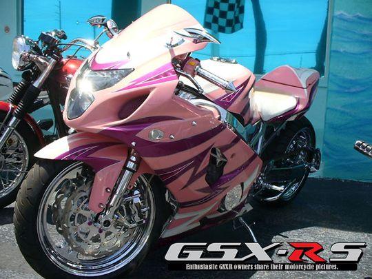 2004 Candy Pink GSXR 600 which is funny, the GSXR was the bike I was looking at to get. and it's only a 600 :)