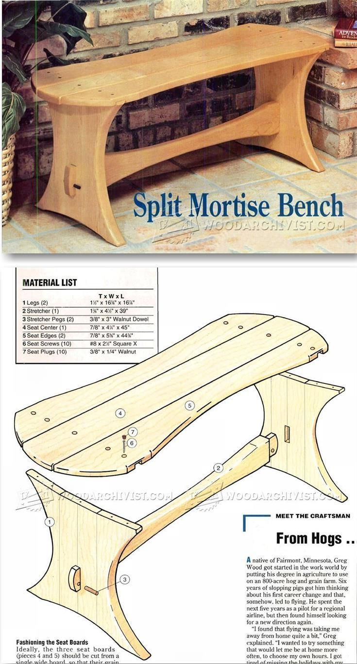 Split Mortise Bench Plans - Outdoor Furniture Plans & Projects  | WoodArchivist.com #WoodworkingBench