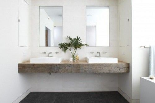 badkamers voorbeelden » zwevende houten werkbladen in badkamer, Badkamer