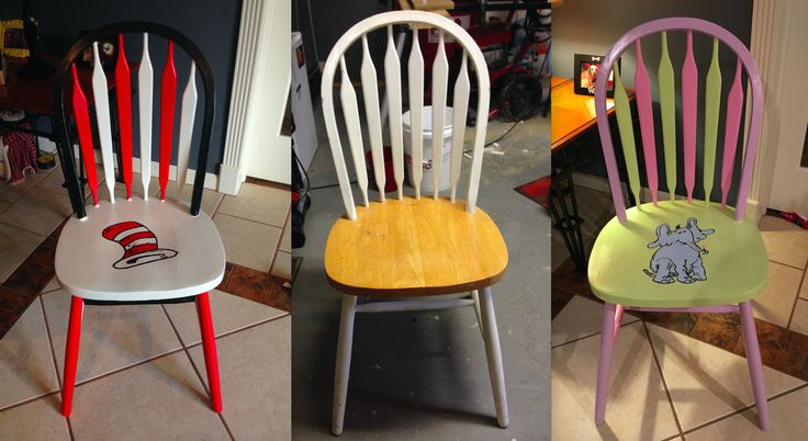 Dr. Seuss Chairs: Took idea from another board for the Cat in the Hat chair and made a Horton chair as well for the classroom.  Used transfer carbon paper to paint the figures.