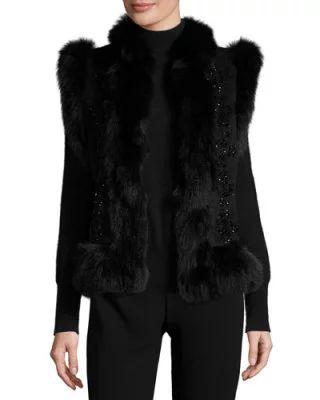 W0FRQ Co Beaded Vest w/Fox Fur Trim, Black