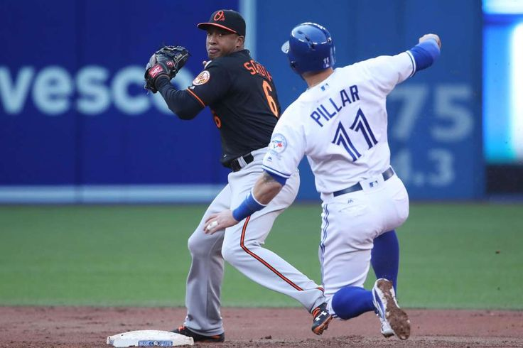 Turning a double:     Jonathan Schoop #6 of the Baltimore Orioles turns a double play to end the second inning during MLB game action as Kevin Pillar #11 of the Toronto Blue Jays slides into second base on June 10, at Rogers Centre in Toronto, Ontario, Canada.