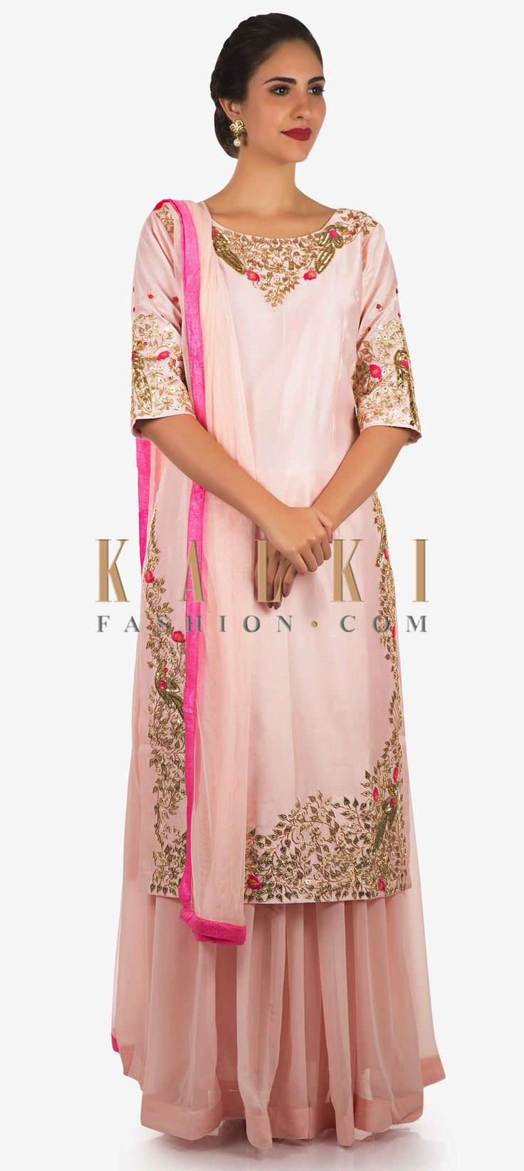 Buy Online from the link below. We ship worldwide Click Anywhere to Tag Baby pink palazzo suit embellished in gotta patti and cut dana embroidery work only on Kalki  All your brunch looks are covered with this baby pink palazzo. The suit is featured in cotton fabric. The top is intricately constructed using the gotta patti and thread floral motifs highlighted with cut dana beautification. It is matched with a palazzo in georgette and dupatta in net with pink borders.