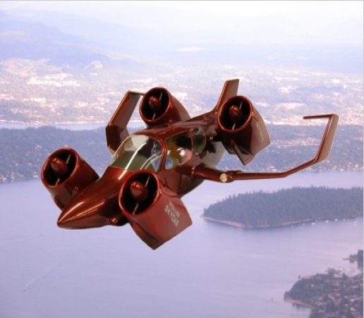 The M400 Skycar, which runs on ethanol, is a vertical-take-off-and-landing aircraft with a projected top speed of over 350 mph and a range of around 750 miles. #flyingcars