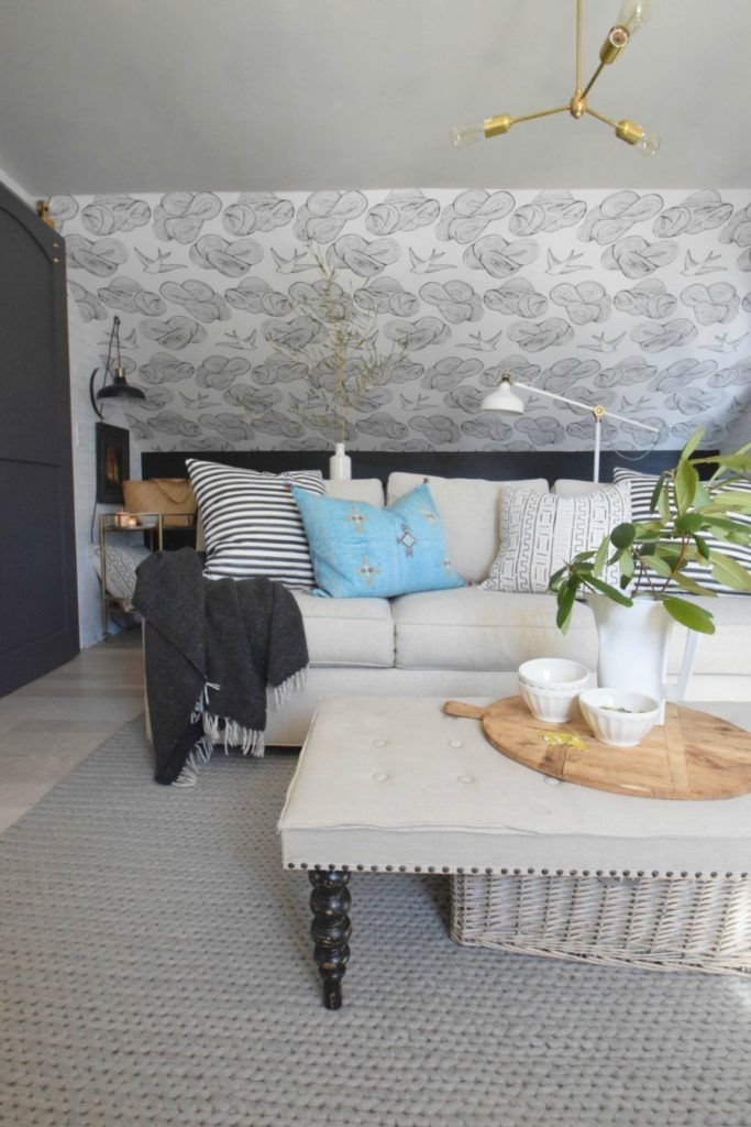 Wallpaper accent wall with Hygge and West. How to install wallpaper.