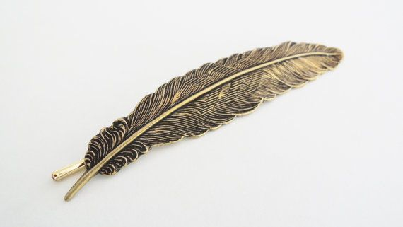 Golden Feather Hair Pin Large Feather by WildGardenDesigns on Etsy