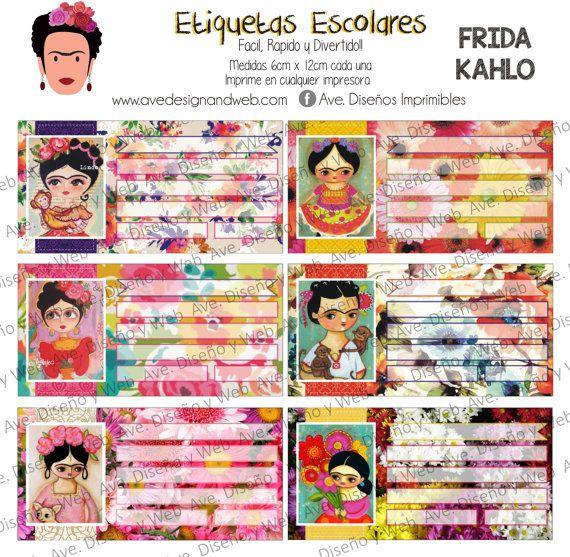 Frida Kahlo Etiquetas para cuadernos por AVeDisenoImprimible