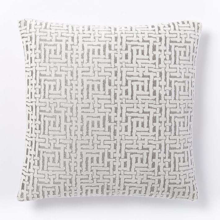 """Allover Crosshatch Jacquard Velvet Pillow Cover, 20""""x20"""", Stone White"""