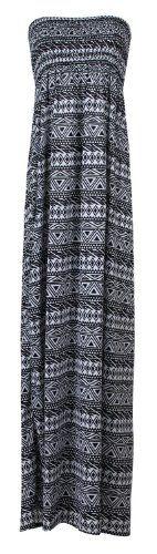 Fast Fashion Damen Viskose Jersey Streifen Aztec Tribal Zick Zack drucken Sheering Gummizug Maxi Kleid: Amazon.de: Bekleidung 17€