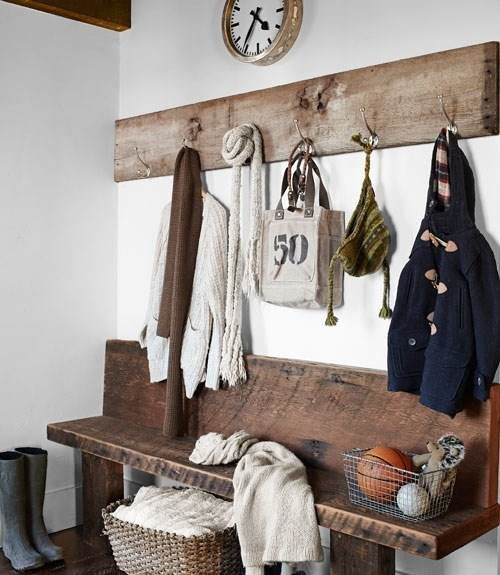 rustic barn wood/reclaimed wood bench and coat rack