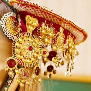 Detail of head dress worn by brides from Voss, Norway