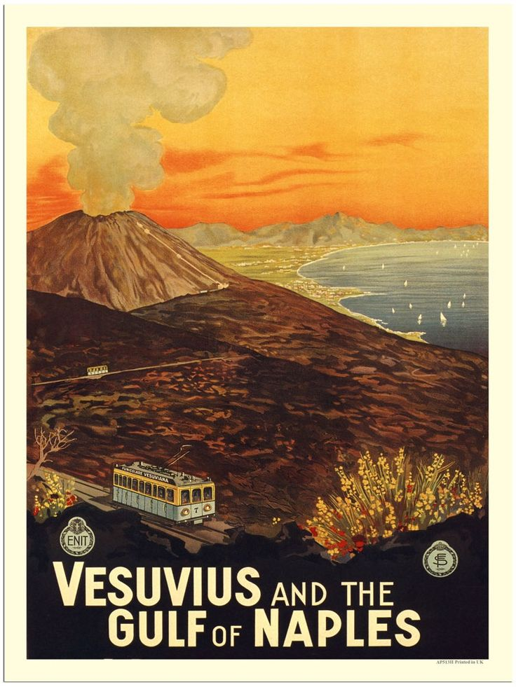 Vintage Italian Posters ~ Italy. Vesuvius and the Gulf of Naples.