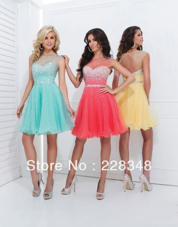 Semi Formal Scoop Red Chiffon Organza A line Mini Short Prom Party Dresses 8th Grade Homecoming Graduation Gowns 2014-in Homecoming Dresses ...