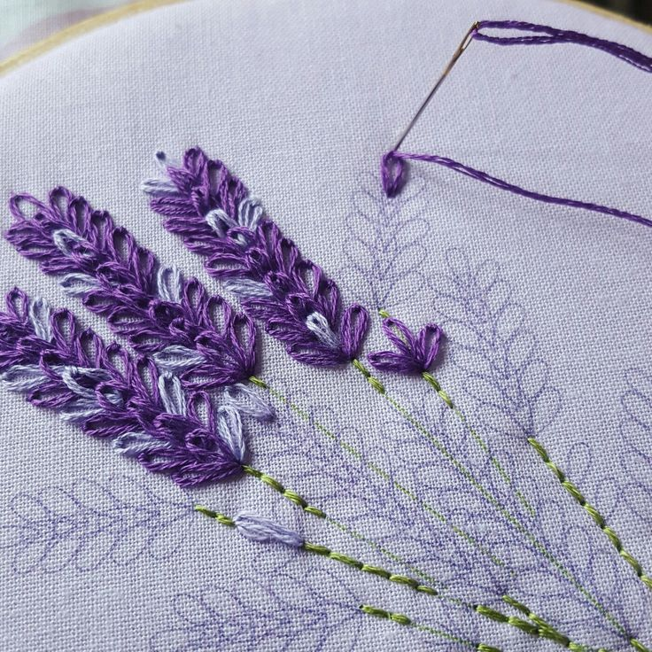 The #Lavender Embroidery Kit is a great way to practice your lazy #daisy stitches  It's a really fun stitch made by anchoring a small loop of thread on to your fabric  #flowers #wildflowers #boho