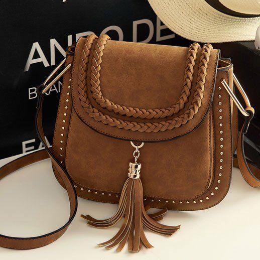 Women Retro Matte Saddle Messenger Bag Tassel Weave Shoulder Bag