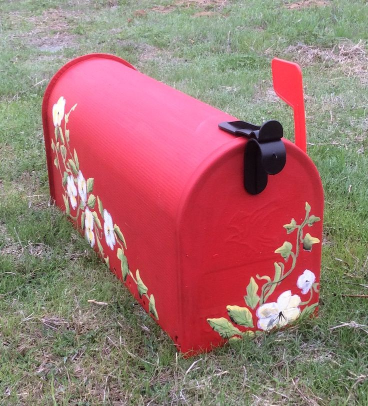 hand painted red mailbox ready to ship antique by PaintedbyYvette
