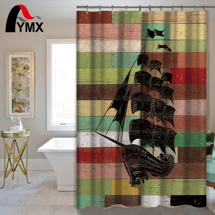Ship Pattern Waterproof Polyester Fabric Shower Curtain Mediterranean Style Bathroom Decor Home Accessory for Bathroom 12 Hooks #Affiliate