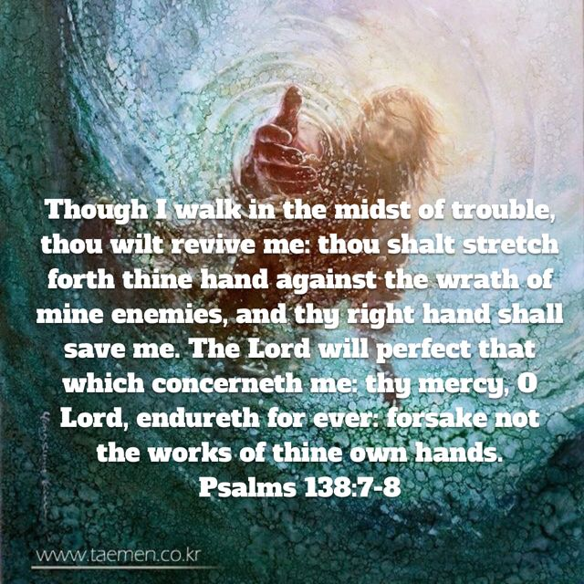 """""""Though I walk in the midst of trouble, you preserve my life. You stretch out your hand against the anger of my foes; with your right hand you save me. The LORD will vindicate me; your love, LORD, endures forever— do not abandon the works of your hands."""" Psalm 138:7-8 NIV"""