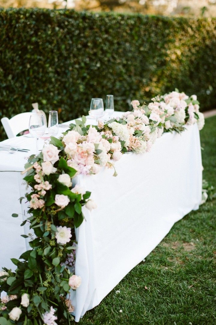 Ceremony / top table flower garland arrangement - Whimsical and Romantic California Wedding from Acres of Hope Photography - wedding centerpiece idea