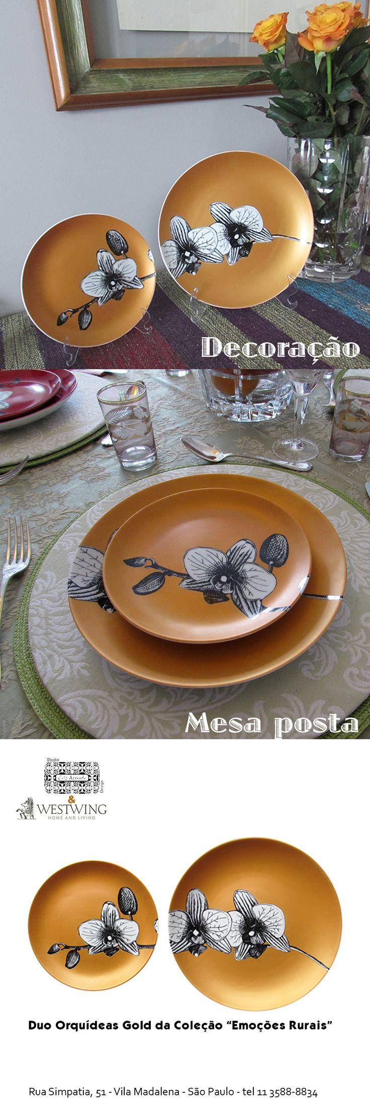 """Pratos em porcelana com desenho autoral do Studio Cris Azevedo. Esses são da coleção """"Emoções Rurais""""- olhares pelos arredores da cidade de São Paulo. Queimados em uma temperatura de 890 graus, podem ser usados na decoração de seu living ou podem ser usados em sua mesa posta. O prato de sobremesa tem 19 cms e o prato raso tem 25 cms."""