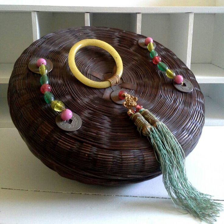 Chinese Sewing Basket, Peking Glass Ring, Brass Coins, Silk Tassel, Glass Beads, Asian Basket by MagiaMia on Etsy https://www.etsy.com/listing/238129332/chinese-sewing-basket-peking-glass-ring
