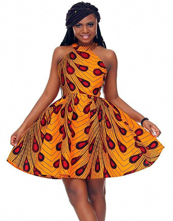 c02206e837 Shenbolen Women African Ankara Batik Print Traditional Clothing Casual  Party Dress at Amazon Women's Clothing store. #ankara #african…