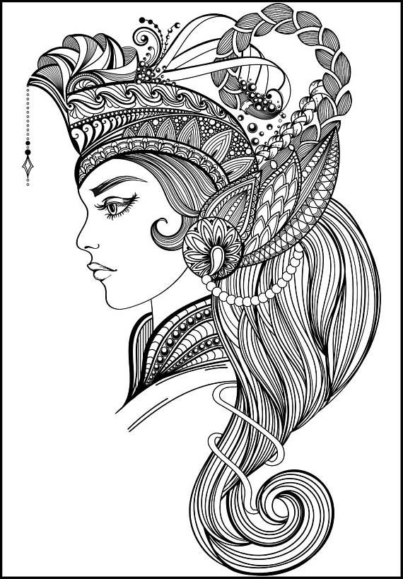 764 best Beautiful Women Coloring Pages for Adults images on