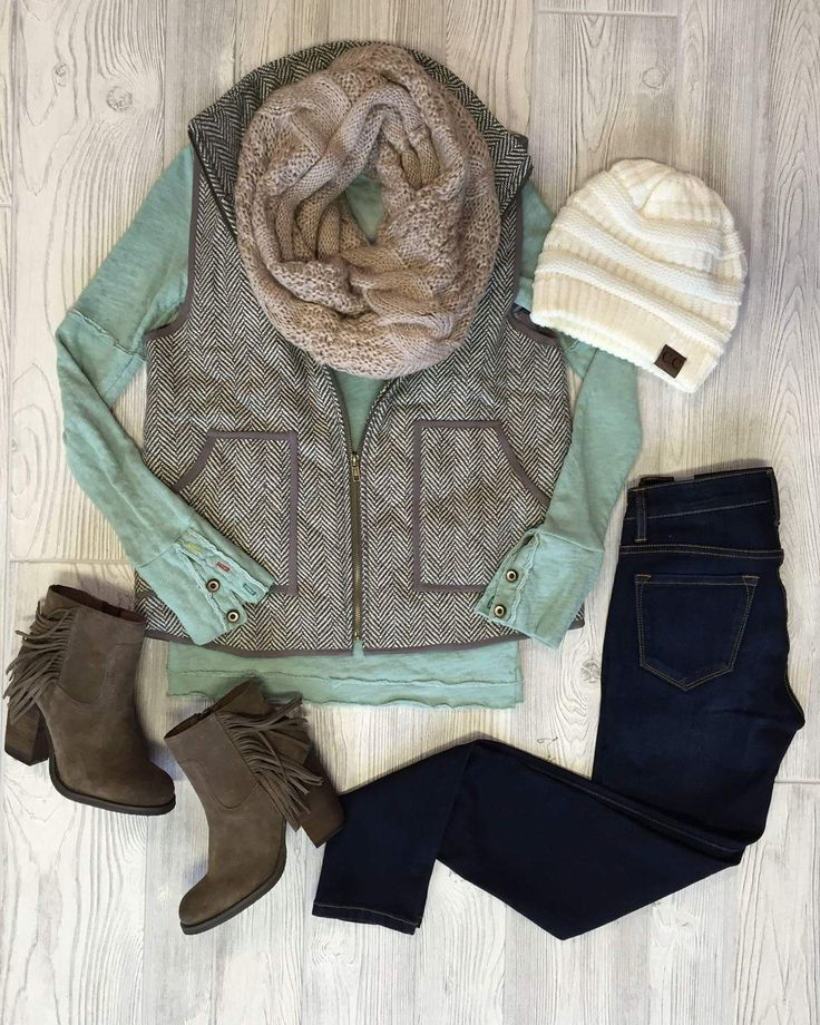 Keep it Casual with Cat Everyone's instant vest outfit requires riding boots or some kind of booties. Step up your street style and dare to mix prints as well. Large plaids couple nicelywith…