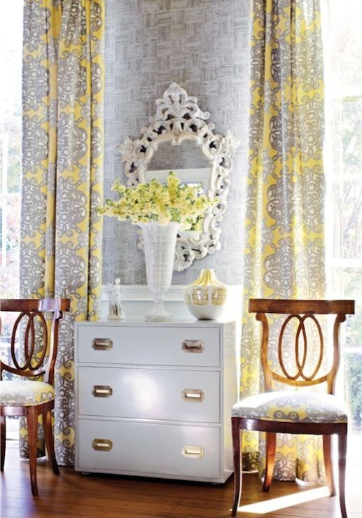 Window treatments and chair seat upholstery jakarta for Grey yellow dining room ideas